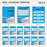 Desk calendar 2019 template. Set of 12 Months. Planner. Week starts on Sunday. Stationery design. advertisement. Vector layout. Blue cover design. business stock illustration
