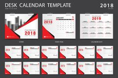 Desk calendar 2018 template. Set of 12 Months. Planner. Week starts on Sunday. Stationery design. advertisement. Vector layout. red cover. business brochure stock illustration