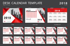 Desk calendar 2018 template. Set of 12 Months. Planner. Royalty Free Stock Photo