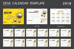 Desk calendar 2018 template. Set of 12 Months. Planner. Week starts on Sunday. Stationery design. advertisement. Vector layout. Yellow cover. business brochure royalty free illustration