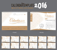 Desk Calendar 2016 Vector Design Template. Big set of 12 Months. Week Starts Sunday. Desk Calendar 2016 Vector Design Template Royalty Free Stock Photos