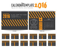 Desk Calendar 2016 Vector Design Template. Big set of 12 Months. Week Starts Sunday. Desk Calendar 2016 Vector Design Template royalty free illustration
