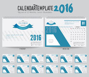 Desk Calendar 2016 Vector Design Template. Big set of 12 Months. Week Starts Sunday. Desk Calendar 2016 Vector Design Template Stock Images