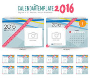 Desk Calendar 2016 Vector Design Template. Big set of 12 Months. Week Starts Sunday. Desk Calendar 2016 Vector Design Template Stock Photography