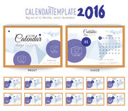 Desk Calendar 2016 Vector Design Template. Big set of 12 Months. Week Starts Sunday Desk Calendar 2016 Vector Design Template Royalty Free Stock Photos