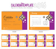 Desk Calendar 2016 Vector Design Template. Big set of 12 Months. Week Starts Sunday Royalty Free Stock Images