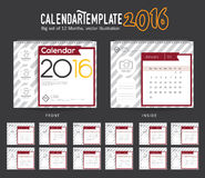 Desk Calendar 2016 Vector Design Template. Big set of 12 Months. Week Starts Sunday. Desk Calendar 2016 Vector Design Template Stock Photos