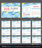 Desk Calendar 2016 Vector Design Template. Big set of 12 Months. Week Starts Sunday. Desk Calendar 2016 Vector Design Template Royalty Free Stock Photo