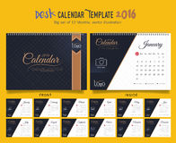 Desk Calendar 2016 Vector Design Template. Big set of 12 Months. Week Starts Sunday. Desk Calendar 2016 Vector Design Template Royalty Free Stock Image