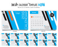Desk Calendar 2016 Vector Design Template. Big set of 12 Months. Week Starts Sunday. Desk Calendar 2016 Vector Design Template Royalty Free Stock Photography