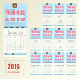 Desk Calendar 2016 Vector Design Template. Big set of 12 Months. Week Starts Sunday Stock Photography