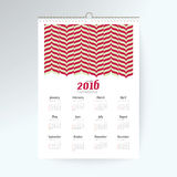 Desk Calendar 2016 Vector Design Template. Big set of 12 Months. Week Starts Sunday Royalty Free Stock Photography