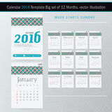 Desk Calendar 2016 Vector Design Template. Big set of 12 Months. Week Starts Sunday Stock Photo
