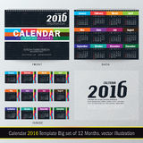 Desk Calendar 2016 Vector Design Template. Big set of 12 Months. Week Starts Sunday stock illustration