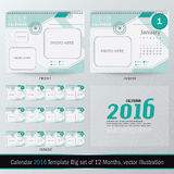 Desk Calendar 2016 Vector Design Template. Big set of 12 Months. Week Starts Sunday vector illustration