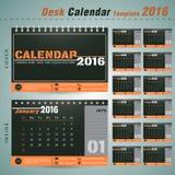 Desk calendar 2016 vector design template for new yea,office Royalty Free Stock Photo