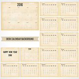 Desk Calendar 2016 Vector Design Template. Set of 12 Months. Wee. K Starts Sunday stock illustration