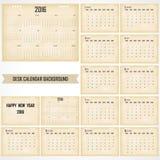 Desk Calendar 2016 Vector Design Template. Set of 12 Months. Wee Royalty Free Stock Photos