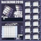 Desk Calendar 2016 Vector Design Template. Set of 12 Months. Week Starts Monday - gray purple stock illustration