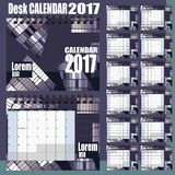 Desk Calendar 2017 Vector Design Template. Set of 12 Months. Week Starts Monday - gray purple vector illustration
