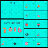 Desk Calendar 2016 Vector Design Template.Set of 12 Months.Week Royalty Free Stock Photography