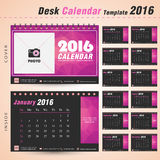 Desk Calendar 2016 Vector Design Template triangle abstract. Desk calendar 2016 vector design template with pink triangle abstract pattern Set of 12 Months Can Stock Image