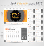 Desk calendar 2016 vector modern Circle design cover template for office illustration Royalty Free Stock Photos