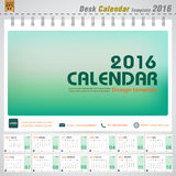 Desk calendar 2016 vector modern green concept design cover template for office planner Royalty Free Stock Image