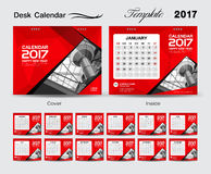 Desk Calendar 2017 vector template, Red calendar, Set of 12 Mont Royalty Free Stock Photo