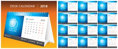 2018 DESK CALENDAR, week start on Monday. Set of 12 months, corporate design planner template, size printable calendar. Templates. Blue color Stock Photo