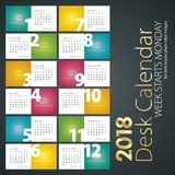 Desk Calendar 2018 week starts monday color background. Vector Stock Image