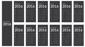 Desk Calendar for 2016. Week Starts Monday. Desk Calendar for 2016, Simple Vector Template, Vector Design Print Template, Set of 12 Months Royalty Free Stock Photography