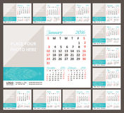 Desk Calendar 2016. Week Starts Sunday. Set of 12 Months vector illustration