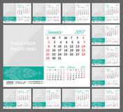 Desk Calendar 2017. Week Starts Sunday. Set of 12 Months. Vector illustration Stock Images