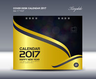Desk Calendar for 2017 Year, Cover Desk Calendar template,. Gold cover design Stock Images