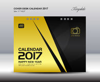 Desk Calendar for 2017 Year, Gold Cover Desk Calendar, leaflet,. Cover design, book cover, booklet, vector, cover template, Brochure flyer, poster,advertisement Stock Photo