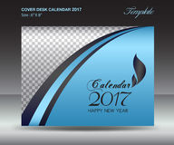 Desk calendar 2017 year Size 6x8 inch horizontal, Blue Cover. Design, Business brochure flyer template, advertisement, book Royalty Free Stock Images