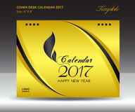 Desk calendar 2017 year Size 6x8 inch horizontal, Gold Cover. Design, Business brochure flyer template, advertisement, book royalty free illustration