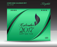 Desk calendar 2017 year Size 6x8 inch horizontal, Green Cover. Design, Business brochure flyer template, advertisement, book Stock Photos