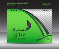 Desk calendar 2017 year Size 6x8 inch horizontal, Green over. Design, Business brochure flyer template, advertisement Stock Photography