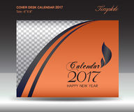 Desk calendar 2017 year Size 6x8 inch horizontal, Orange Cover. Design, Business brochure flyer template, advertisement Royalty Free Stock Photo