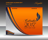 Desk calendar 2017 year Size 6x8 inch horizontal, Orange Cover. Design, Business brochure flyer template, advertisement, book stock illustration