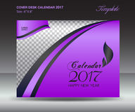 Desk calendar 2017 year Size 6x8 inch horizontal, Purple Cover. Design, Business brochure flyer template, advertisement vector illustration
