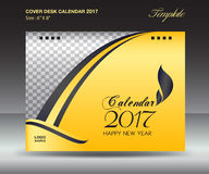 Desk calendar 2017 year Size 6x8 inch horizontal. Yellow over design, Business brochure flyer template, advertisement Stock Photos