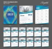 Desk Calendar 2019 year size 6 x 8 inch template, blue calendar 2019 template, Set of 12 Months, Week Starts Monday. Wall calendar, flyer design, cover royalty free illustration