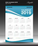 Desk calendar 2019 year Size 6x8 inch vertical. Week start Sunday, business flyer, Blue background, vector illustration Stock Photos