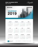 Desk calendar 2019 year Size 6x8 inch vertical, Week start Sunday royalty free illustration