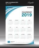 Desk calendar 2019 year Size 6x8 inch vertical, Week start Sunday. Business flyer, Blue background, vector illustration Royalty Free Stock Photography