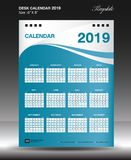 Desk calendar 2019 year Size 6x8 inch vertical, Week start Sunday. Business flyer, Blue background, vector illustration Royalty Free Stock Photos