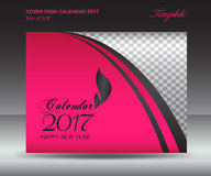 Desk calendar 2017 year Size 6x8 inch horizontal, Pink Cover des Royalty Free Stock Photos